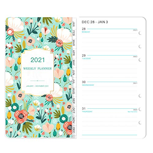 """2021 Planner Refill - 2021 Weekly & Monthly Planner Refill, A6 Planner Inserts, 3-3/4"""" x 6-3/4"""", Jan 2021-Dec 2021, Loose Leaf Paper, Refill Paper 2021 Portable notebook, 6-Hole Punched."""