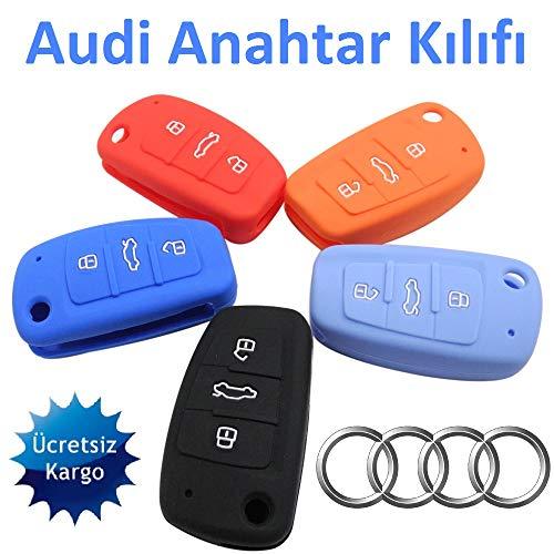 Tuqiang® 1x Rosa Schlüsselcover Autoschlüssel für Audi farbig Silikon Schutzhülle Tasche Gehäuse 3 Tasten Fernbedingung Klappschlüssel