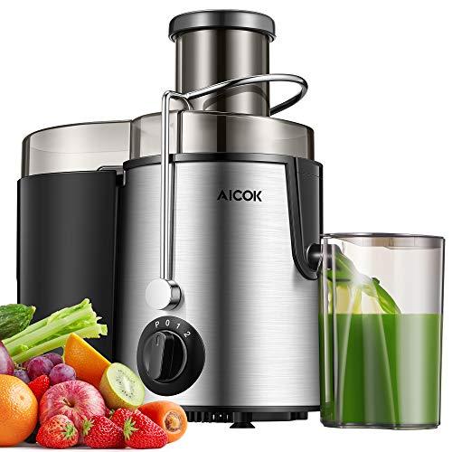 AICOK Entsafter Gemüse und Obst, Zentrifugaler Juicer mit 75MM Breiter Mund, 3 Geschwindigkeiten Edelstahl-Entsafter mit Anti-Tropf-Funktion und Überhitzungsschutz inkl. BPA-Frei