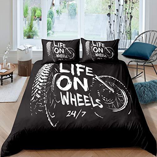Loussiesd Juego de ropa de cama para moto de cross, juego de ropa de cama para niños y hombres, con ruedas y funda de edredón para motocicleta, colección de dormitorio, 2 unidades, color negro