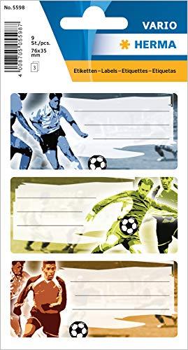 HERMA 5598 Lot de 9 étiquettes autocollantes pour livres Motif football
