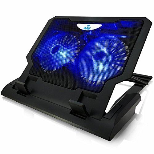 AABCOOLING NC65 - Laptop Lüfter mit 2 Lüftern, Einstellbare Neigung und Blau LED, Laptoptisch, Cooling Fan, Laptopständer für Laptops bis 15,6 Zoll und PS4 PRO / XBOX Consolen, Halterung