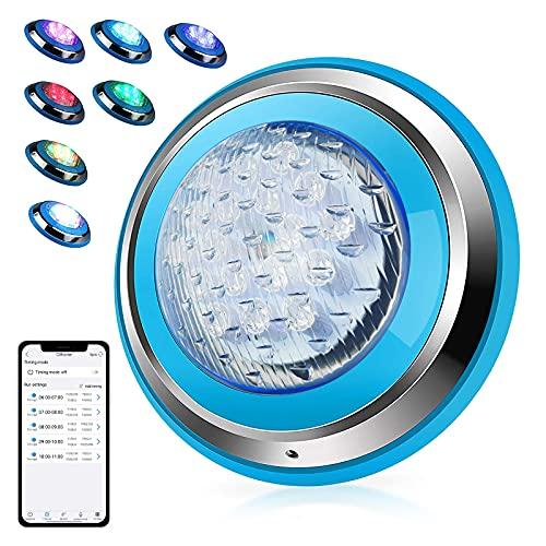 Instale Directamente 54W 12-24V Luces Sumergibles Piscina Luz LED Impermeable 18*3W RGB LED Chips Bluetooth APP Control Montado en La Pared Iluminacion Piscina IP68 Impermeable 32 Efectos