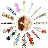 VEGCOO 16 Piezas Clips de Pelo, Pinzas Pelo de Diamantes de Imitación, Horquilla de Metal, Accesorios de Pelo para Mujer Chica (B)