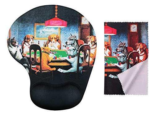 Coolidge Dogs Playing Poker Ergonomic Design Mouse Pad with Wrist Support Gel Hand Rest. Matching Microfiber Cleaning Cloth for Glasses, Cars & Electronics. Mouse Pad for Laptop, PC Computer & Mac