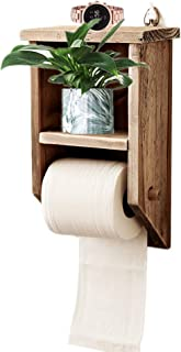 Byher Rustic Toilet Paper Holder with Shelf, Wooden Bathroom Accessories for Farmhouse Decor (Rustic Wood - 11Inch)