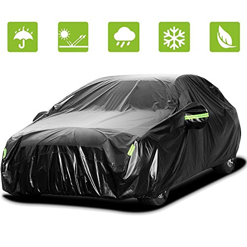 Sailnovo Car Cover Waterproof All Weather Sedan Cover for Outdoor/Indoor, Universal UV Protective Windproof Black Auto Car Covers for Sedan up to 191''Lx73 Wx59 H