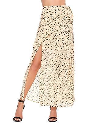 Zeagoo Star Print Chiffon Skirt Wrap Tie Long Beach Skirt for Women