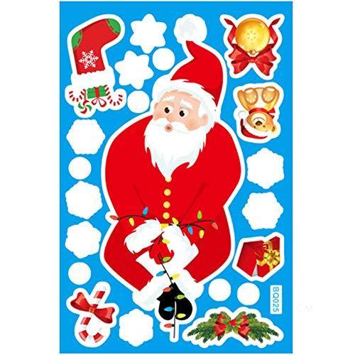 GJKK - Adesivi natalizi con fiocchi di neve, per finestre, autoadesivi, decorazione invernale per la notte di vino, decorazione natalizia A30 Etichettalia Unica