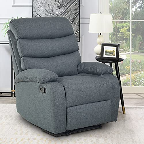 Fabric Recliner Chair, Adjustable Manual Recliner Overstuffed Single Sofa Chair Ergonomic Reclining Chair Home Theater Seating Lounge Chair for Living Room/Guest Room/Study, Dark Grey