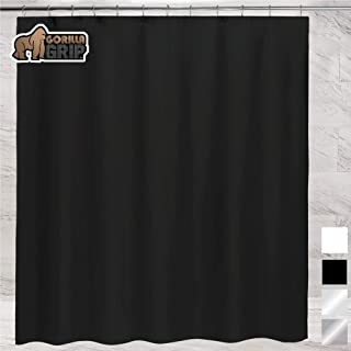 Gorilla Grip Premium Bathroom PEVA Shower Curtain, 72x72, Waterproof, Machine Washable, BPA Free, Magnets in Curtains, Reinforced Hook Holes, Fits Standard Bath Tub, Single, Black Opaque