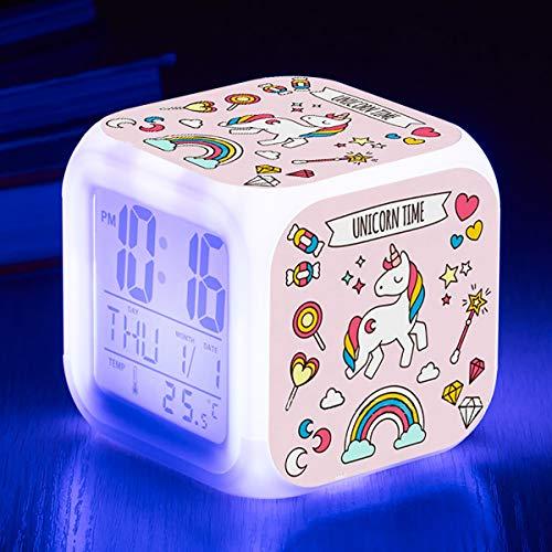 TCJJ Einhorn Wecker für Mädchen,Wecker Digital mit LED Nachtlicht Beleuchteter Anzeige Zeit Datum Temperatur Anzeige Einhorn Muster (Rosa)