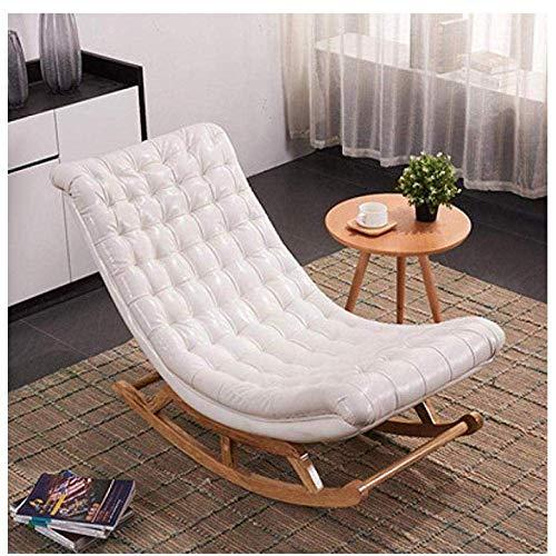 Sedia a dondolo, confortevole relax nordico balcone sedia a dondolo in legno massello balcone divano pigro camera da letto soggiorno poltrona reclinabile ufficio peso del cuscinetto 200 kg-bianco