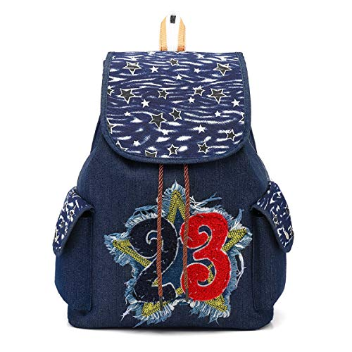 CCCLLL Children's Backpack, 15 Inches Retro Folk-custom Embroidered Neutral Drawstring School Bag Denim Material Breathable Wear Resistant High Capacity Leisure Travel Rucksack,F