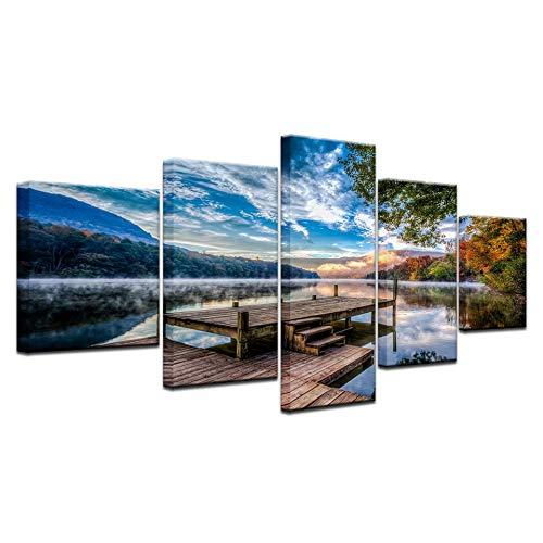 5Panel Printed Bridge Blue Sky Mountain River Landschaftsdruck auf Leinwand Kunst für Zuhause ation