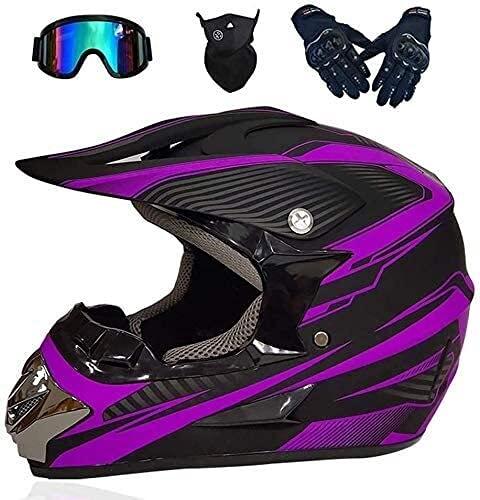 LLDKA Cascos de Motocross, Casco Cruzado Casco de Motocicleta con Gafas/Guantes/máscara, Casco Integral de Casco de Bicicleta (Color : M(54~55cm))