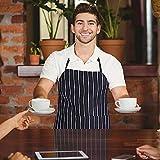 DECARETA 2 Stücke Kochschürze mit 2 Taschen, Premium Küchenschürze, Verstellbare Grillschürze für Männer, Frauen, Keller, Chef (Schwarze und weiße Streifen) - 6