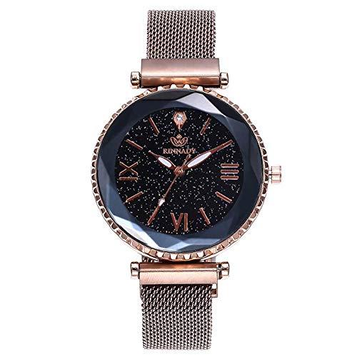 Weimay - Reloj de pulsera para mujer, de piel, acero inoxidable, analógico, de cuarzo