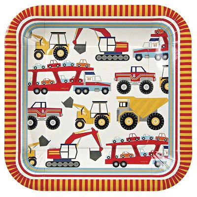 Construction Party Supplies, Big Rig 9 inch Plates by Meri Meri Pack of 1