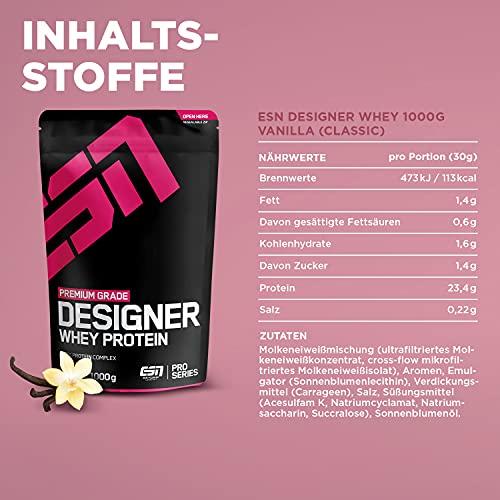 ESN Designer Whey Protein, Pro Series, Vanilla, 1er Pack (1 x 1000g Beutel) - 4