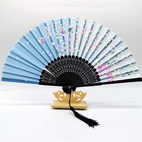 LIANGLMY Abanico Plegable Bambú Pliegue los Ventiladores de la Mano Fan de la Boda Niños Antiguo Regalo de Ventilador de plegamiento de la Vendimia Mayor Vintage Bambu WaiSers (Color : 02)