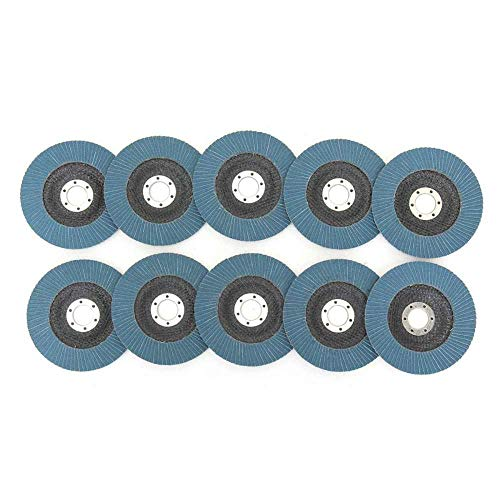 GFHDGTH 10 stuks lamellenschijven professionele 125 mm 5 inch slijpschijven 40/60/80/120 slijpschijven voor haakse slijpmachines, 80 grains