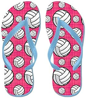 Bright Pink Volleyball Pattern Flip Flops for Kids Adult Beach Sandals Pool Shoes Party Slippers Black Pink Blue Belt for Chosen