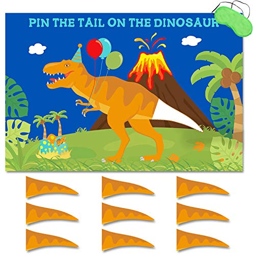 Pin The Tail On The Dinosaur Game, Large Poster Reusable Sticker Blindfold Photo Props Decoration, T-Rex Kids Birthday Roar Party Ideas