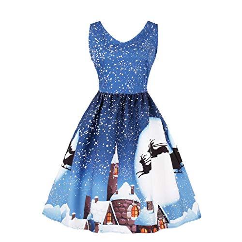SHOBDW Mujer Mangas más el tamaño con Cuello en V de Santa Copo de Nieve Impreso Fiesta de la Tarde Reno Caramelo una línea de Navidad Vintage Mini Vestido(D-Azul Claro,Small)
