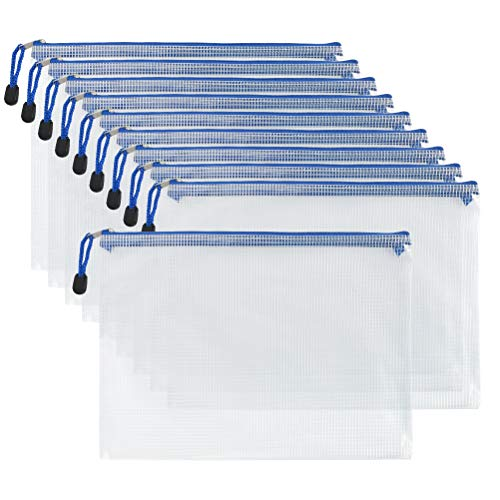 HONMIED A4 Dokumententasche, Mesh Reißverschlussbeutel, Zipper Taschen Reißverschluss Aktenmappen für Datei, Papier, Dokumente, Kosmetika und Reiseutensilien