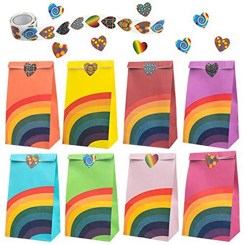 Wodasi Bolsas de Regalo, 40 Piezas Bolsa Regalo, Bolsa de Fiesta Arco Iris, Bolsas Regalo Papel con un Rollo de 100 Pegatinas de para los niños Suministros Fiesta de cumpleaños, 8 Colores