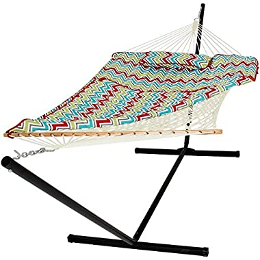 Best Choice Products 12ft Outdoor Heavy Duty Cotton Rope Double Hammock Set w/Stand, Pad, Pillow - Multicolor Chevron