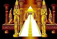Qinunipoto ビニール 1.5m x 1m 黄金のエジプトのファラオスフィンクス背景輝く階段写真の背景古代エジプト文化歴史検索背景エジプト女王大人フォトスタジオの小道具