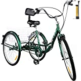 Happybuy Foldable Tricycle 24'' Wheels, 1-Speed Green Trike, 3 Wheels Colorful Bike with Basket, Portable and Foldable Bicycle for Adults Exercise Shopping Picnic Outdoor Activities