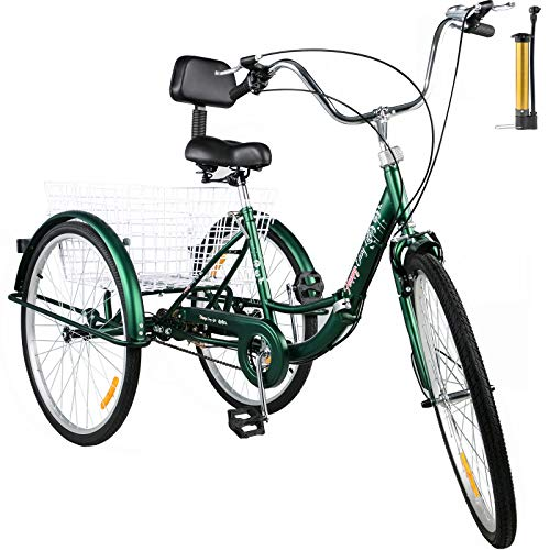 Bkisy Tricycle Adult 24'' 1-Speed 3 Wheel Bikes for Adults Three Wheel Bike for Adults Adult Trike Adult Folding Tricycle Foldable Adult Tricycle 3 Wheel Bike Trike for Adults (Green)