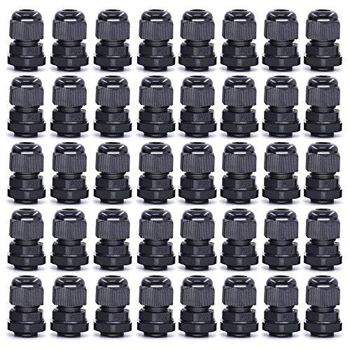 Gebildet 40 Stk M16 x 1,5 Kabelverschraubung, PG9 schwarz wasserdichte Kabelverschraubungen mit Gegenmutter Kunststoff, Kabelsteckverbinder Verstellbare, Kabelverschraubungen Gelenke