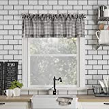 No. 918 Parkham Farmhouse Plaid Semi-Sheer Rod Pocket Kitchen Curtain Valance, 54' x 14', Black/White