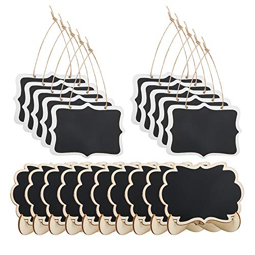 20 Pack Mini Rectangle Chalkboard Label, findTop Foot Stand and Hanging Chalk Blackboard Wood Small Message Board for Weddings,Parties,Table Numbers, Food Signs