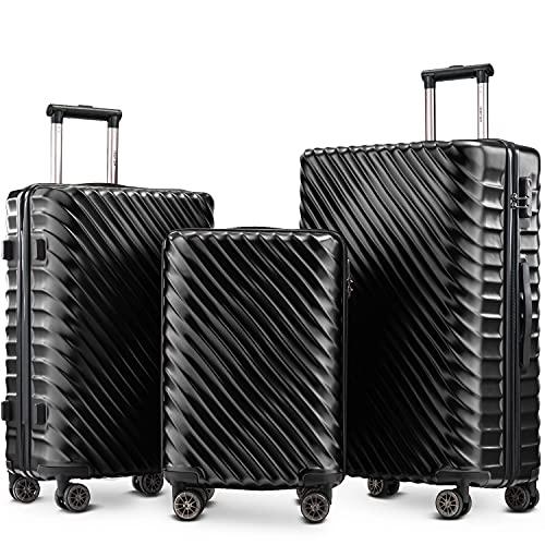 TITA-DONG Juego de equipaje 3 piezas - Maletas rígidas Cabina Mano Ruedas de viaje ABS+PC Funda con cerradura (negro oscuro)