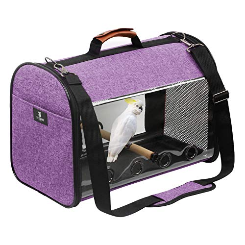 X-ZONE PET Bird Travel Bag Portable Pet Bird Parrot Carrier Transparent Breathable Travel Cage,Lightweight Bird Carrier,Bird Travel Cage (Carrier-Purple)