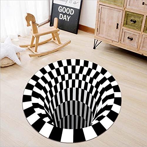 FFFZW Alfombra de vórtice 3D, Alfombra Redonda con Efecto de Trampa, impresión en Blanco y Negro, alfombras de área de ilusión óptica para Sala de Estar, Alfombra Decorativa de Interior Moderna