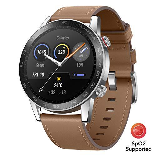 HONOR Magic Watch 2 46mm Smart Watch,15 Deportes Diferentes,Monitor de frecuencia cardíaca y estrés,Larga duración de batería, Altavoz Incorporado y micrófono Compatible con Android iOS, Marrón