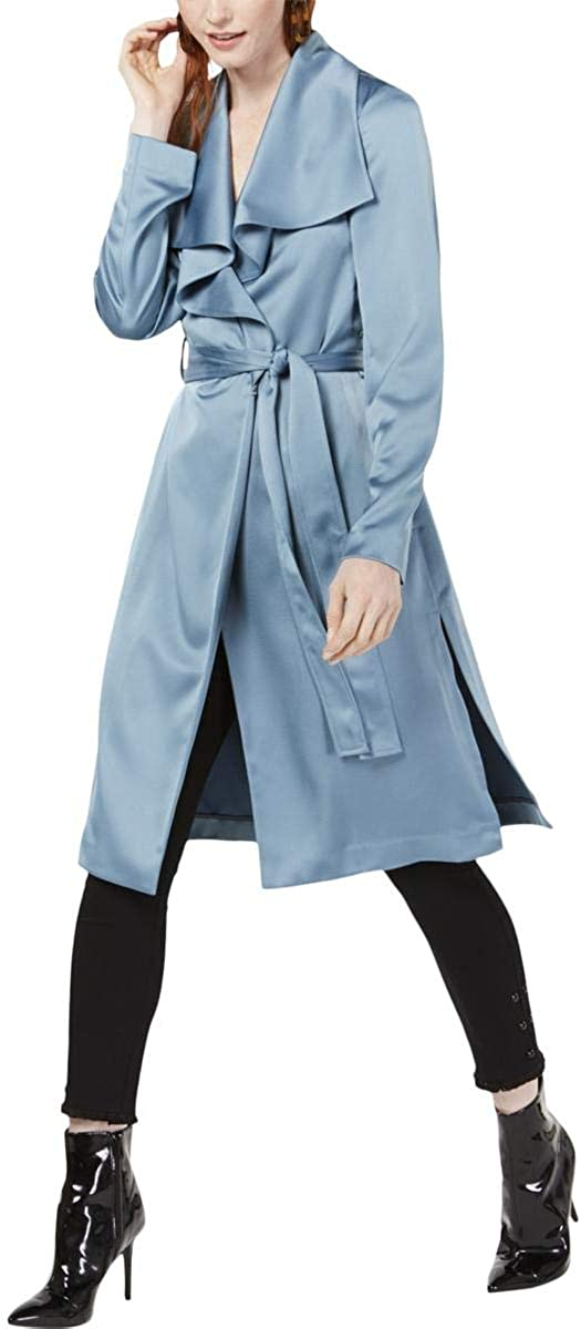 Bar III Women's Drape Front Duster Jacket, Denim Spruce, X-Small