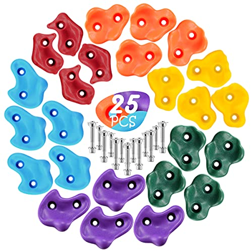 LEMOONE DIY 25Pcs Rock Climbing Holds for Kids, Rock Climbing Holds Set with 50PCS Mounting Hardware - Climbing Rock Wall Grips for Indoor and Outdoor Play Set