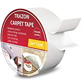 Carpet Tape Double Sided - Rug Tape Grippers for Hardwood Floors and Area Rugs - Carpet Binding Tape Strong Adhesive and Removable, Heavy Duty Stickers Tape, Residue Free (2 Inch / 12 Yards)