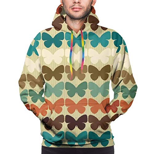 Preisvergleich Produktbild Men's Hoodies Sweatershirt, Retro Style Pattern with Butterfly Silhouettes Collection In Shades, 3D Printing Long Sleeve Casual Sweatershirt Tops, Size 3XL