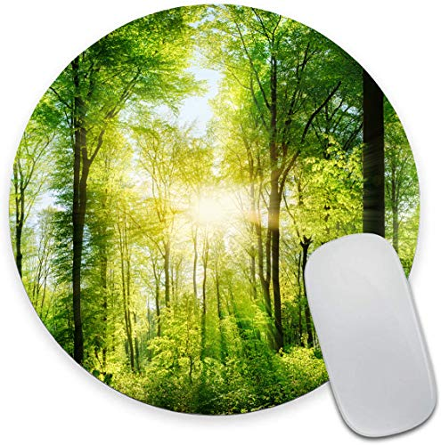 Nature Forest of Green Trees Mouse Pad, Sunlight Through The Foliage Mouse Pad, Round Gaming Mouse Mat Waterproof Circular Small Mouse Pad Non-Slip Rubber MousePads for Office Home Laptop Travel