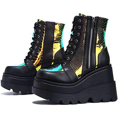 JXILY Botas de tobillo con plataforma holográfica con zapatos gruesos para mujer, cordones a juego de color para mujer, botas de piel de tacón alto de gran tamaño, plataforma alta, negro, 38 EU