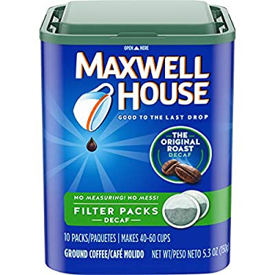 Maxwell House Decaf Original Medium Roast Ground Coffee Filter Packs (10 Count Boxes, Pack of 4)