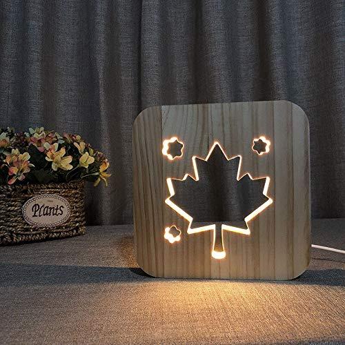 Fuente de alimentación USB luces cálidas forma de hoja de arce novela hueca tallada decoración LED3D regalos de vacaciones